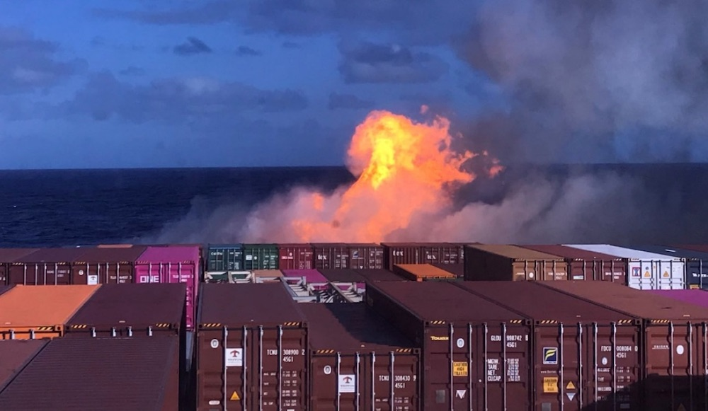 Container fire: Put that in your pipe